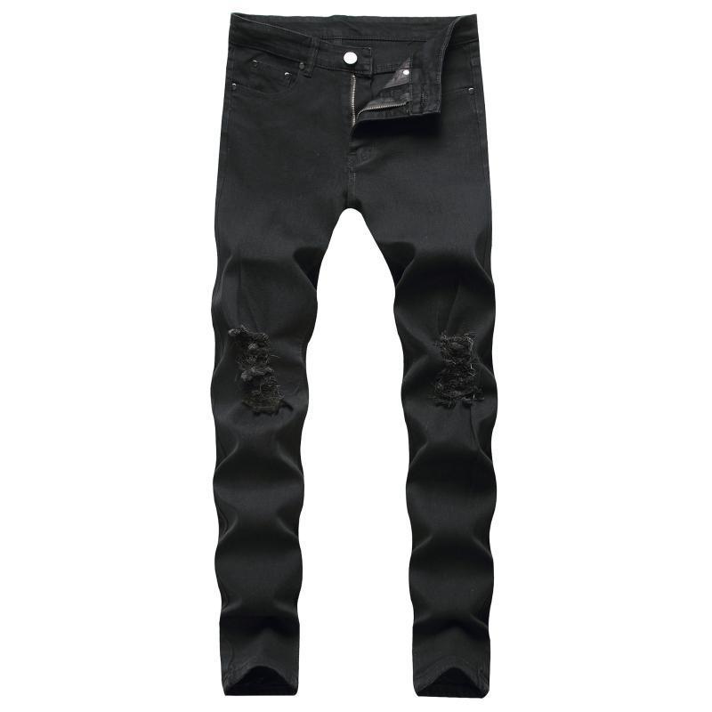 Черные джинсы Мужчины Slim Fit New Baqueros Ротос Hombre Stretch Pantalon Vaquero Elastico Hombre Pantolon Байкер рваные джинсы для мужчин