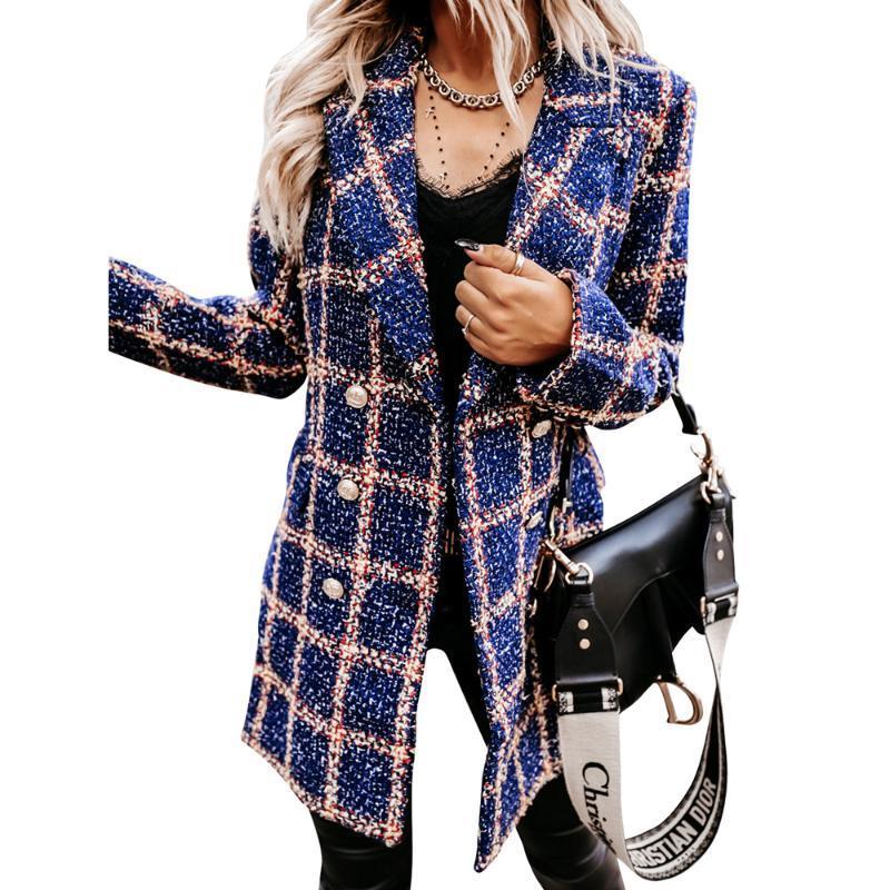 여성용 양모 블랜드 빈티지 격자 무늬 인쇄 코트 여성 더블 브레스트 재킷 숙녀 Houndstooth 우아한 롱 포켓 겉옷 Manteau D30