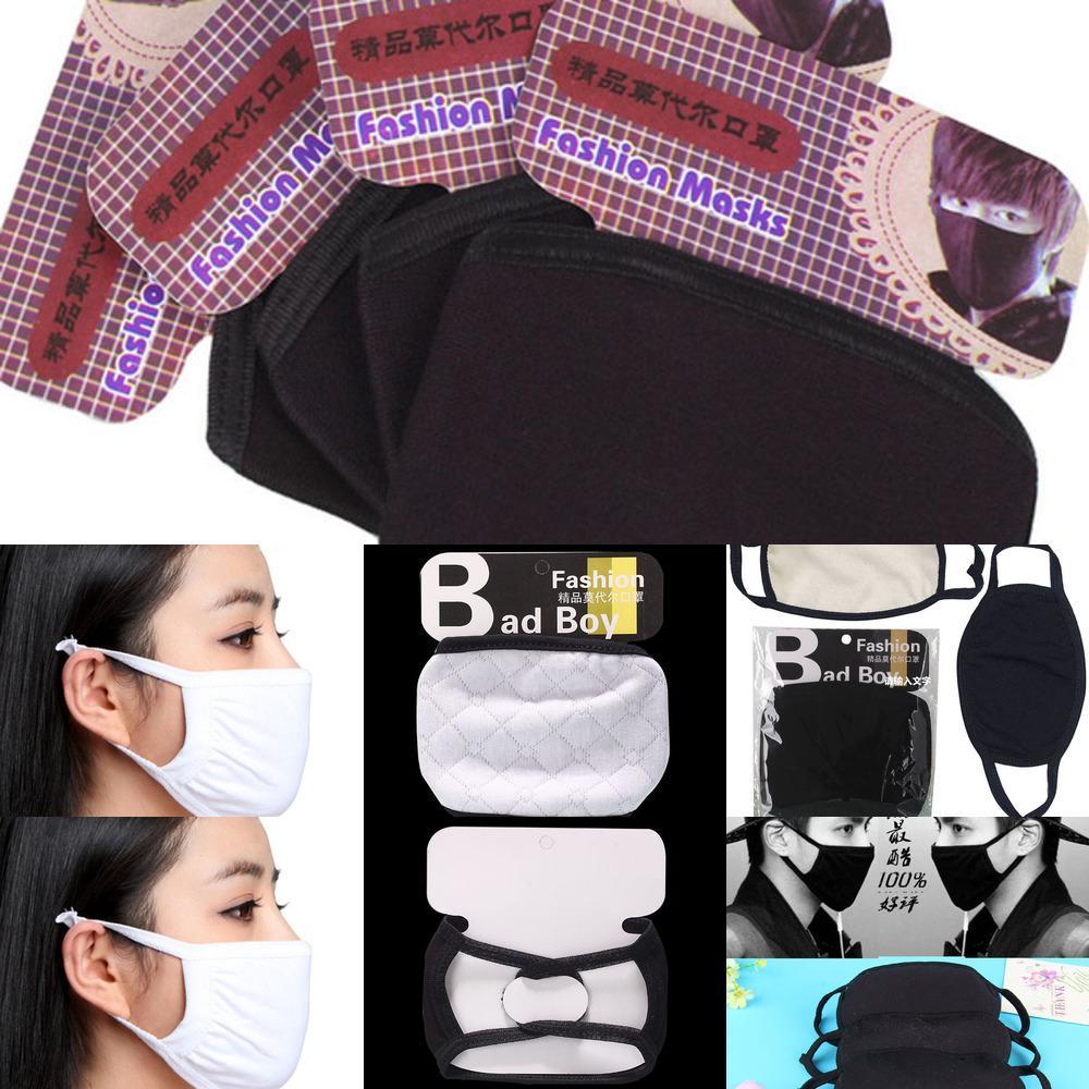 Maschere del viso di cotone nero respiratendo PM2.5 maschere con lo stock di cotone! Maschere per panno riutilizzabili lavabili Protezione antipolvere PET High Qulaity FY9043