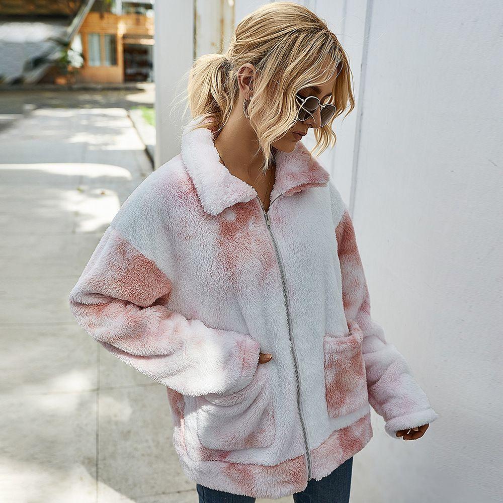 Kadın Ceket Kış Moda Kravat Boyalı Kalın Sıcak Ceketler Avrupa ve Amerikan Tarzı Bayan Dış Giyim Rüzgarlık 6 Renk Boyutu S-XL