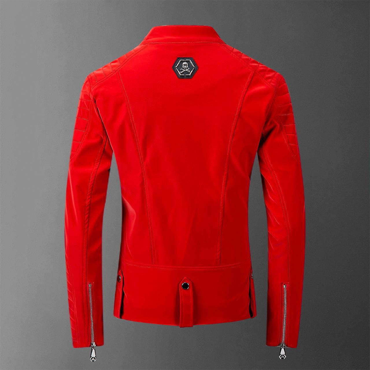 Crâne cuir reconstitué rouge Jackets Homme High Street style Turn-doudounes cou Streetwear hommes et manteaux Casacas Para Hombre 201019