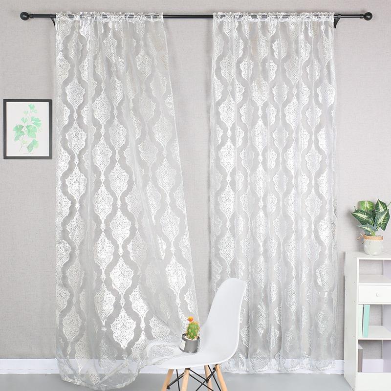 100x200cm Schlafzimmer Vorhänge Rod Pocket Shiny Valance Transparente dünne Vorhang Fensterbehandlung Home Decoration Für Wohnzimmer