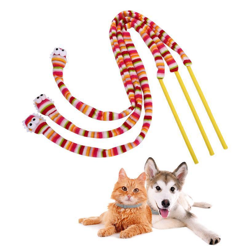 Forma 1pcs interactivo animal doméstico del juguete del arco iris serpiente divertida del gato se pega la cabeza con el anillo de la caja de almohadilla de la felpa del balanceo plástico de bolas Hola juguete sqctJz
