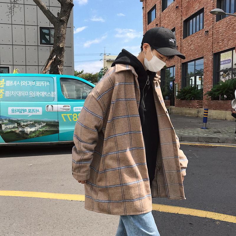 2019 yeni zarif Kore tarzı ceket gevşek vahşi gelgit marka gündelik büyük boy erkek ceket bej / mor M-2XL