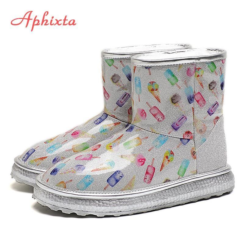 APHIXTA 2020 Inverno Transparente das mulheres impermeáveis Curto neve Botas Plush Quente Plataforma Mulheres peludos Shoes Cabeça Redonda Mulher