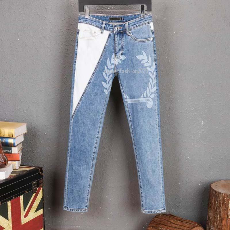 Haute Qualité Mens Hommes Design Jeans en détresse Moto Biker Jeans Rocher Skinny Hole Hole Stripe célèbre Marque Denim Pants