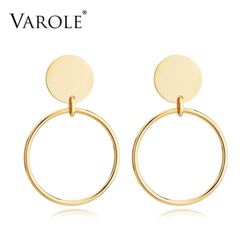 VAROLE orecchini rotondi Wire Giacca monili dell'oro di colore orecchini per le donne in acciaio inox Orecchini Brincos Grandes