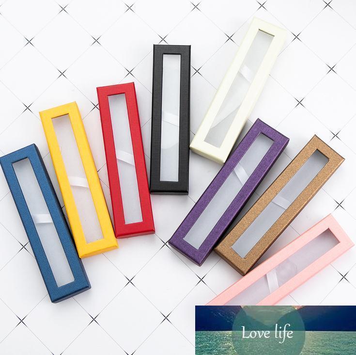 Pen Boîte cadeau papier Fenêtre Transparent Packaging Pen Boîte stylos à bille Trousses Présentoir rack école Fournitures de bureau SN1490