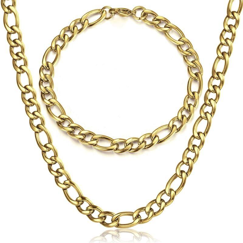 5/7 / 9mm Figaro Link Chain Bracelet Collier Ensembles pour Femmes Hommes En Acier Inoxydable Chic meilleur ami Ensembles de bijoux Cadeaux 259