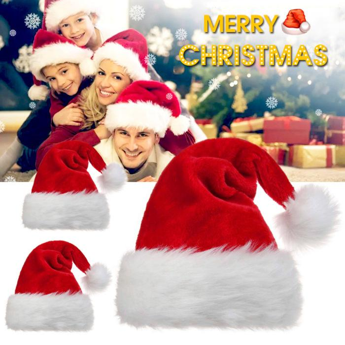 Plush Christmas hats Christmas Holiday Xmas Adult and Kids Cap for Santa Claus Christmas Hat New Year Decoration Kids Gift