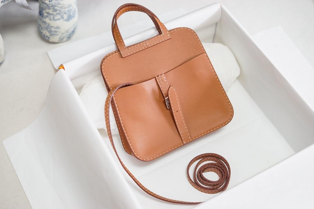 Полностью ручной дизайн Halzen Mini Bag22cm на складе с большой скидкой, шить воска, коричневый цвет, быстрая доставка