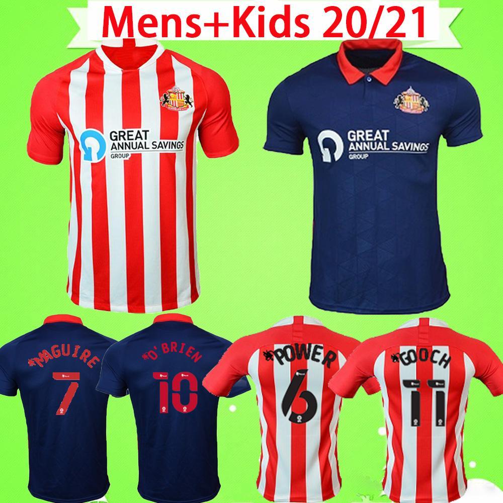 2020 2021 선더랜드 축구 유니폼 홈 Whter Blue Safc 20 21 Wembley Maja Goch 축구 셔츠 Maguire Wyke Kids Kit Maillots 드 발