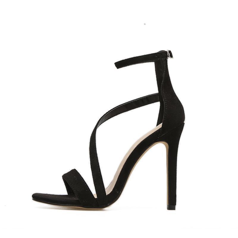 Sandalias Decente Tacones altos delgados Lady Toble Strap Stiletto Black Suede Vamp Shoes de mujer Sexy 2021 Vestido femenino de la boca de los peces de verano