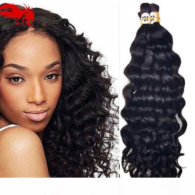 Deep Curly Onda Bulk Cabelo Para Trança 3 Pcs Lot 150g Afro Afro Onda encaracolado Cabelo Humano Para Braiding Bulk Sem Caixas De Crochet
