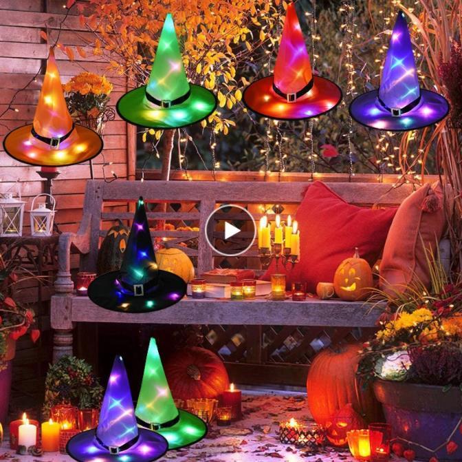 1PCS هالوين قبعة الساحرة مع LED ضوء متوهجة الساحرات قبعة هالوين شنقا ديكور تعليق شجرة متوهجة قبعة للأطفال