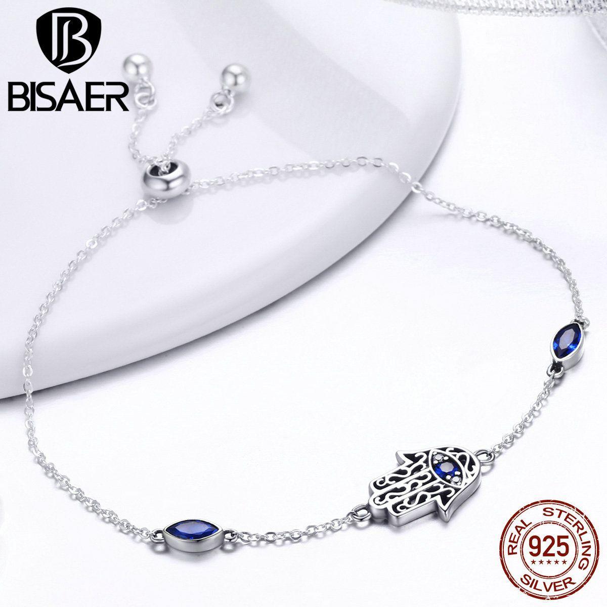 BISAER 925 Sterling Silver Hamsa Hand Fatima Hand Chain Link Bracelets Pulseira Lucky Female Women Bracelets Fine Jewelry ECB076 1028