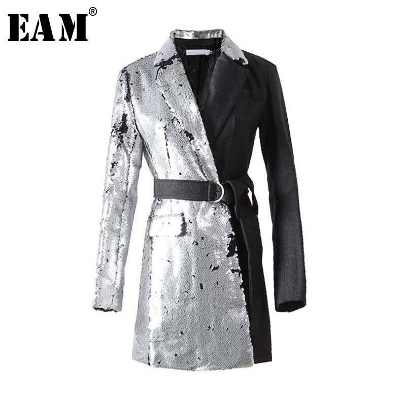 [EAM] Новая весна нагрудные с длинным рукавом Половина Боковые Блестки стежка Сыпучие пряжка пояса куртки Женщины пальто Мода Tide JI994 200930
