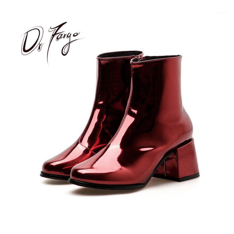 DRFARGO 2020 Patente Couro Ankle Boots Sapatos Mulheres 6cm Quadrado Salto Alto Zippe Botas Redonda Toe Tamanho 35-40 Fashion Zapaptos 962921