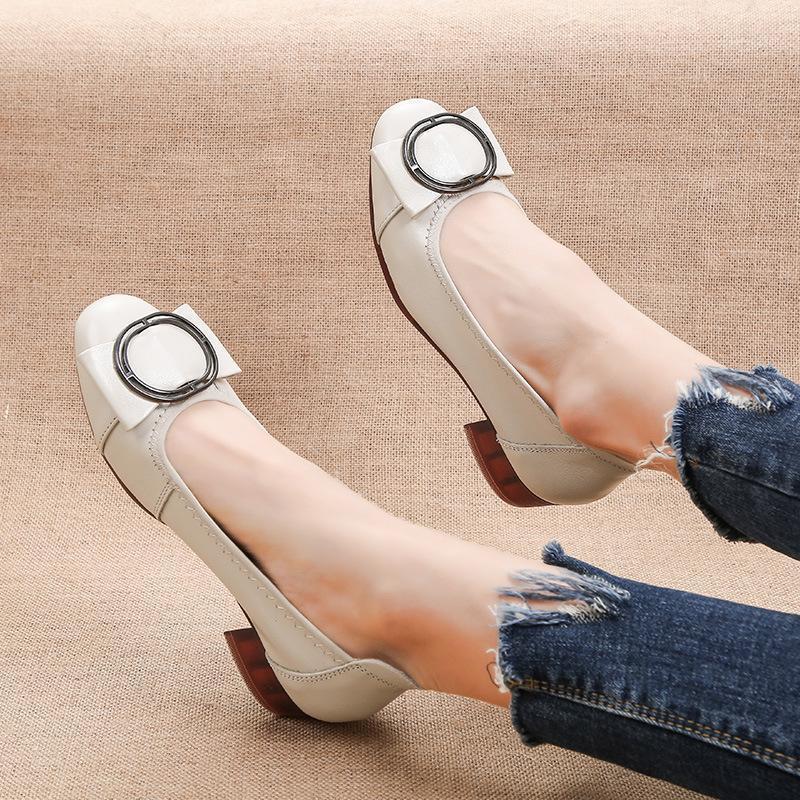 2020 Frühlingsmode Echtes Leder Frauen Kleid Schuhe Dame Square Ferse Schuhe Slip auf Schuhe Frau Büro Niedrig High Heel1