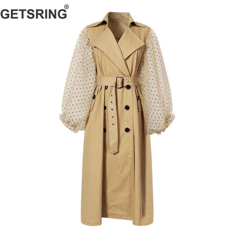 GETSRING Frauen Trenchcoat Khaki Cotton Windjacken Laterne Hülse Spliced zweireihiger Mantel Lace Up dünne lange Overcoat 2020