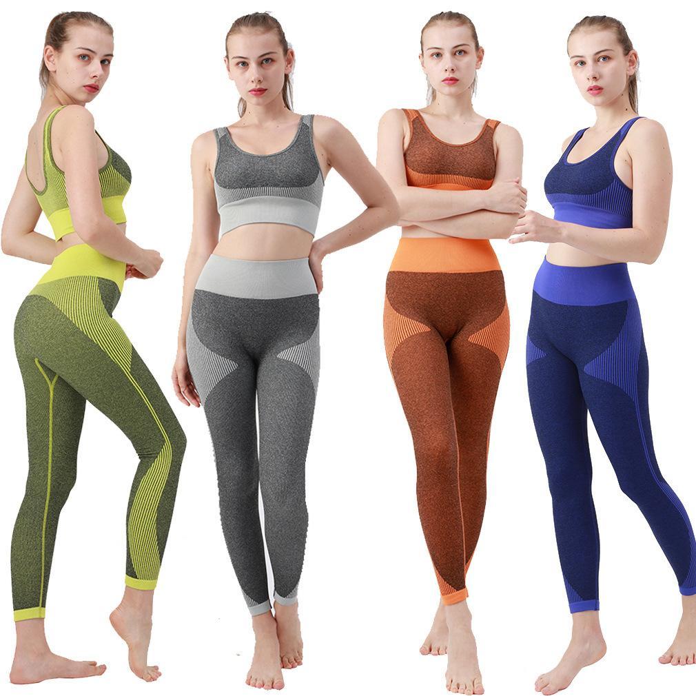 Donne Due Piece Pantaloni Moda Yoga Yoga Tracksuits attivi Abiti traspiranti Attiti Donne Abiti da corsa 4 Colori Ins Sweats Sweatsuits