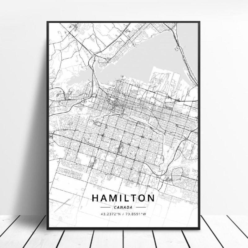 Hamilton Kelowna LEDUC SHERBROOKE TORONTO AJAX CANADA Map Canvas Art Poster1