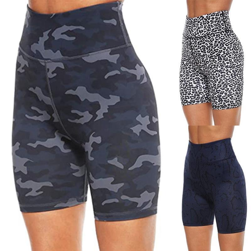 Taille haute de la femme Imprimer séance d'entraînement Yoga Shorts cachés poches Jambes sport Shorts