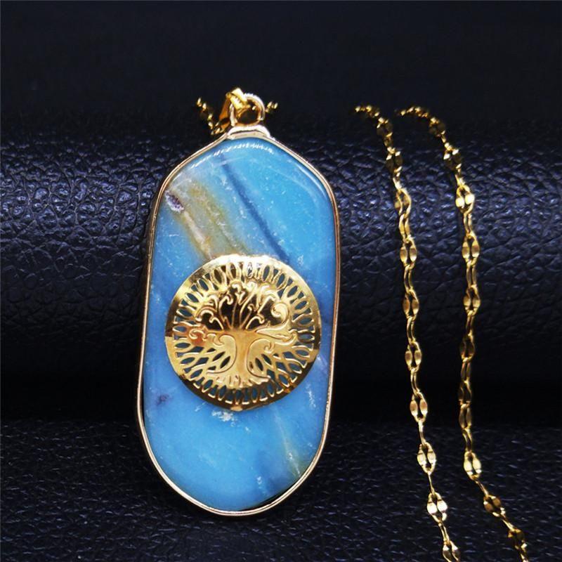 AFAWA 2020 Collana blu della pietra naturale in acciaio inox per il collare monili delle donne Colore Oro Acciaio inossidabile NB13S04 mujer
