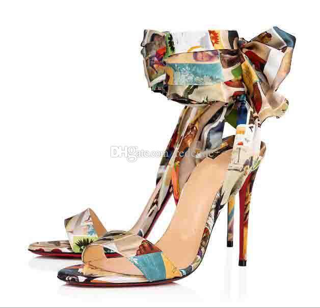 Sexy Elegante rote Boden Frauen Sandalen Schuhe für Frauen High Heels Sandale du Wüste Knöchelriemen Stiletto Heel Rote Sohle Sandalias Mujer EU43