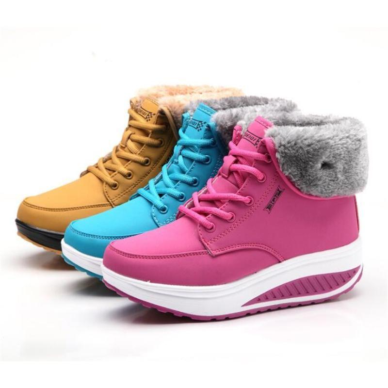 Donne Stivali invernali signore femminile di marca di modo casuale del progettista di cuoio di lusso della caviglia pelliccia stivali scarpe da donna Neve