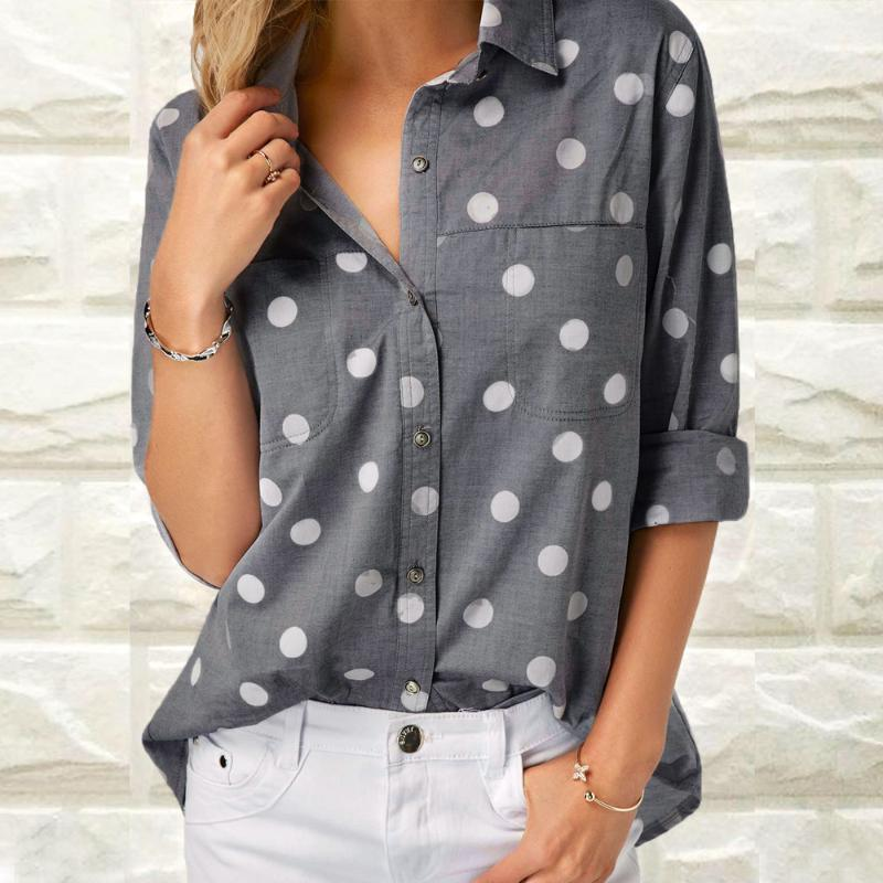 Kadın Bluzlar Gömlek Ishowtienda Varış Bluz Kadınlar Tops Kadın Çalışma Ofis Nokta Baskı Gri Rahat Uzun Kollu Gömlek Haut Femmes Modu Blusas1
