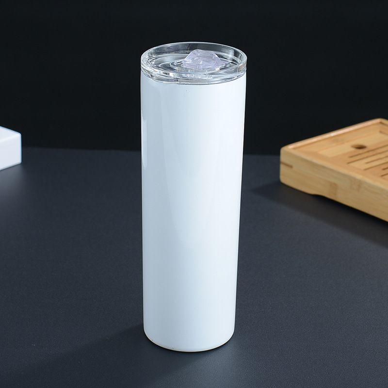 20oz en acier inoxydable cupule droite de sublimation blancs blancs gobelets chaleur transfert aspirateur isolé eau bouteilles tasse à café boisson avec couvercle paille
