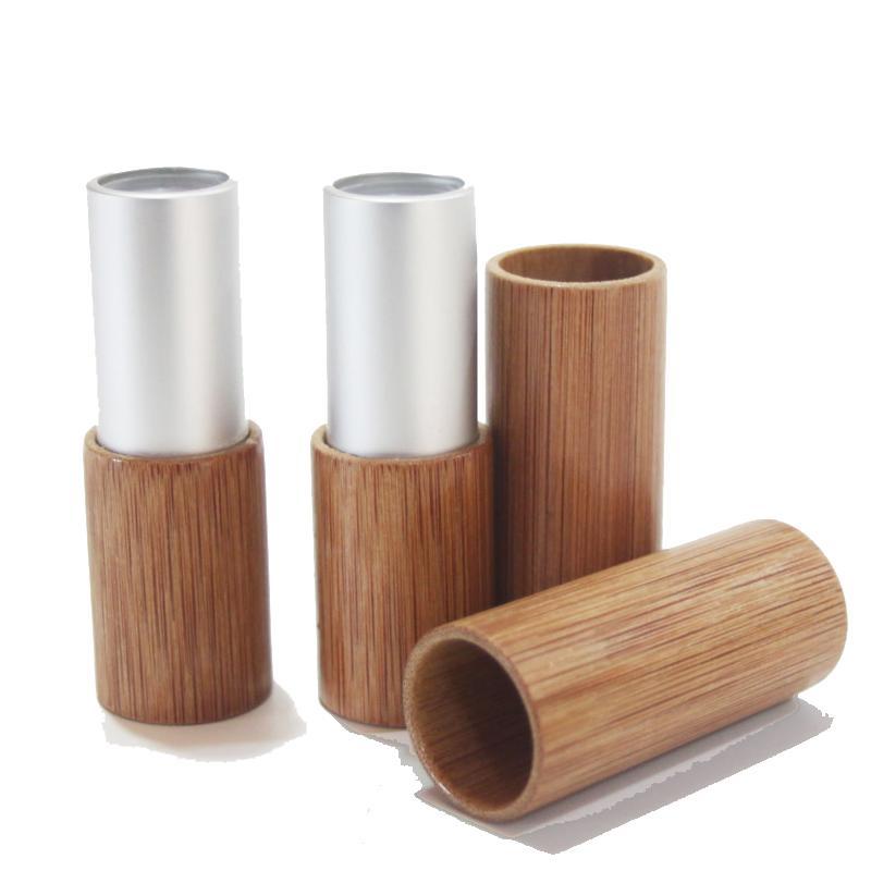 20pcs / lot 4g 10pcs / lot doré or ou argent bambou tube tube de rouge à lèvres Top grade Balm de la lèvre Sous-package bricolage vide bambou haut de gamme bambou lèvres conteneur