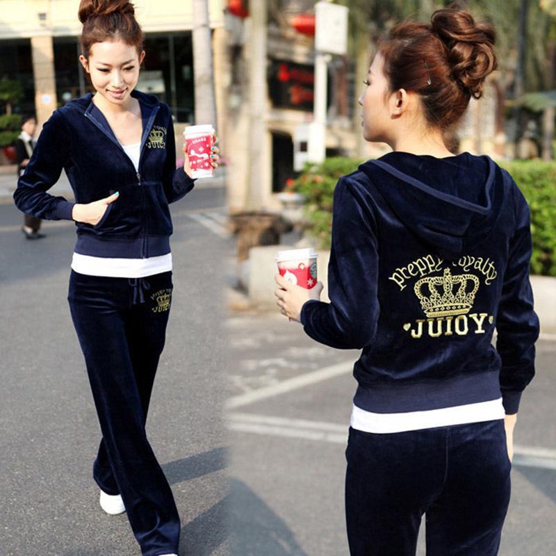 Bahar / Güz 2020 kadın Marka Kadife Kumaş Eşofman Kadife Suit Kadınlar Track Suit Hoodies ve Pantolon Boyut S - XXL X0923