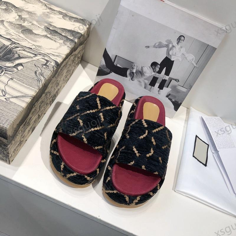 Gucci sandals Tasarım Bayanlar Terlik Güzel Moda Plaj Platformu Terlik Lüks Platform Mektuplar Bayanlar Sandalet Deri Yüksek Topuk Terlik Büyük