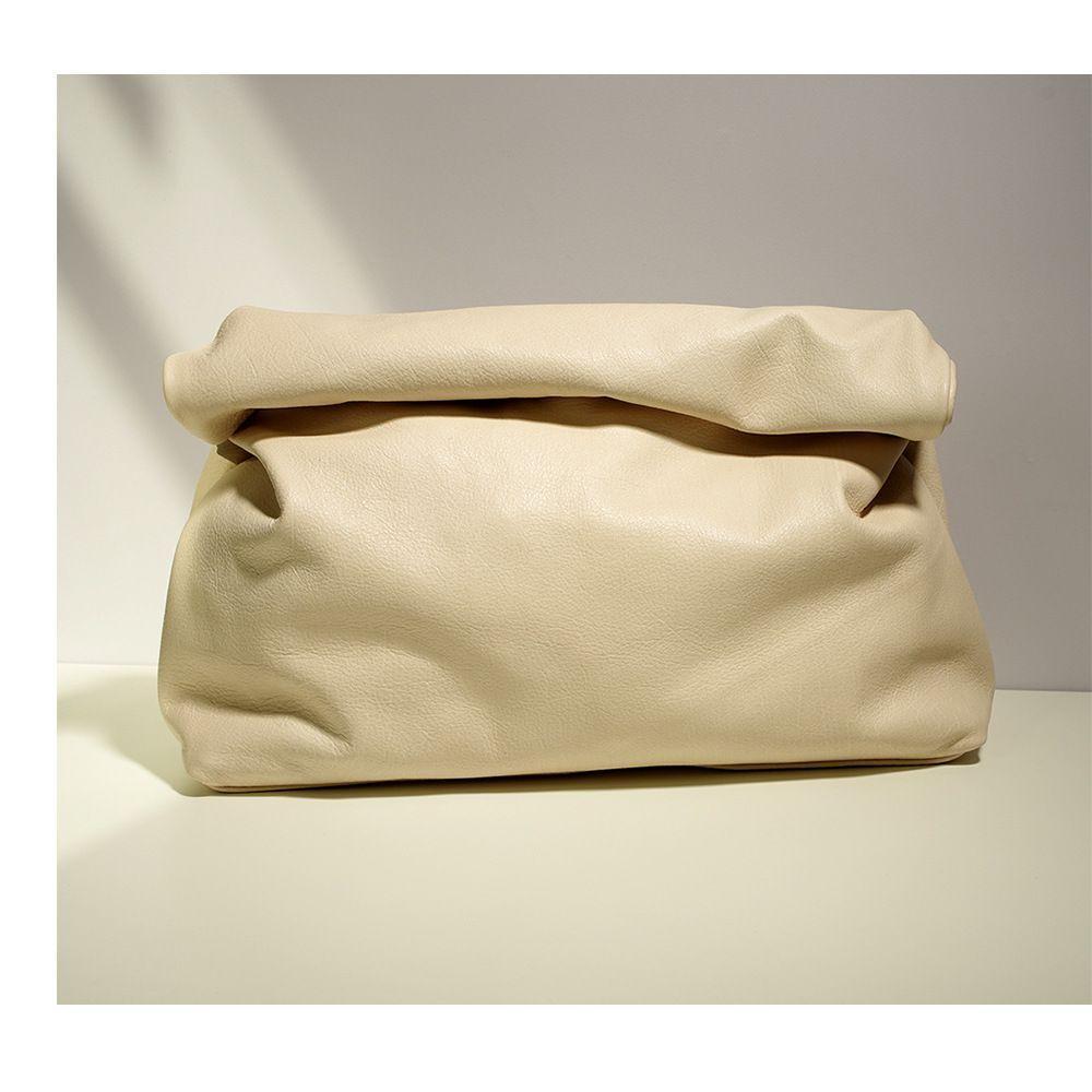 HBP Candy Color Кожаная маленькая группа кошелек личности ленивый повседневная керлинг ручной сумка верхний слой коровьей обед сумка женская мягкая сумка бежевая