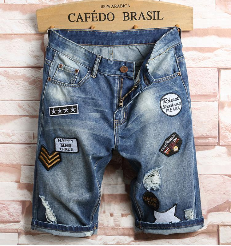 Uomini Blue Breve Jeans Holes Denim Shorts New Fashion Men Uomo in cotone Blue Jean Breve Pantaloncini di alta qualità Straight Casual Breve Jeans1