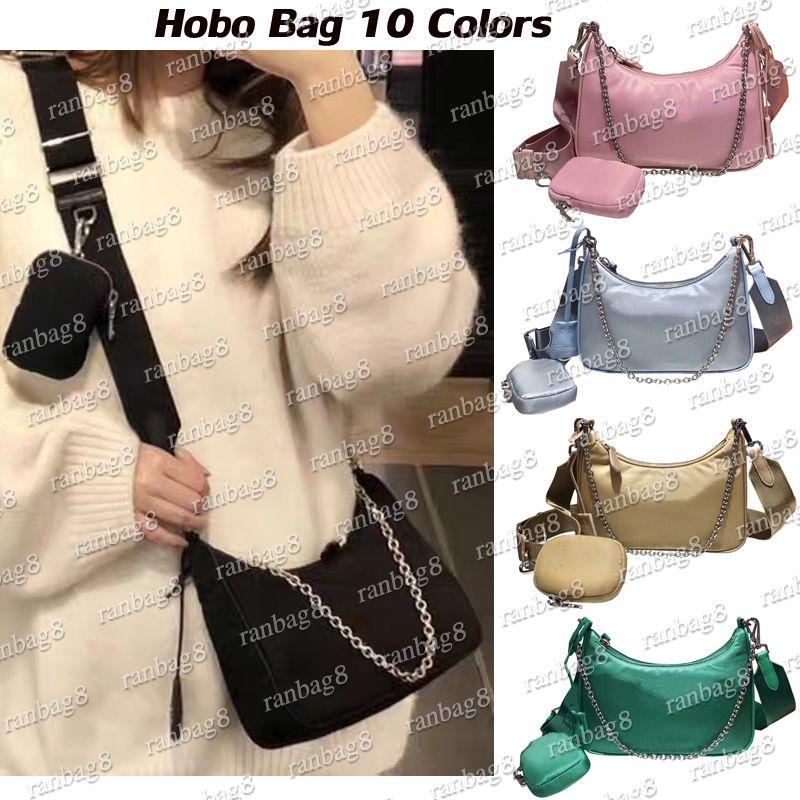 Nylon Schulter Crossbody Tasche Frauen Großhandel Hobo Brust Pack Taschen Kette Tasche Handtaschen Hobo Messenger Mini Pocket Clutch Mode 10 COL VPCs