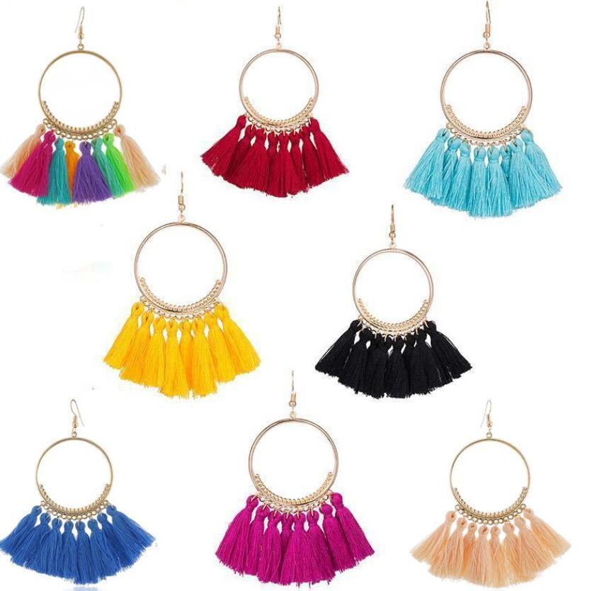 Moda Vintage Kadınlar Bohem Küpe Uzun Saçaklar Kristal Boho Uzun Püskül Kanca Bırak Dangle Küpe Takı 17 Renkler