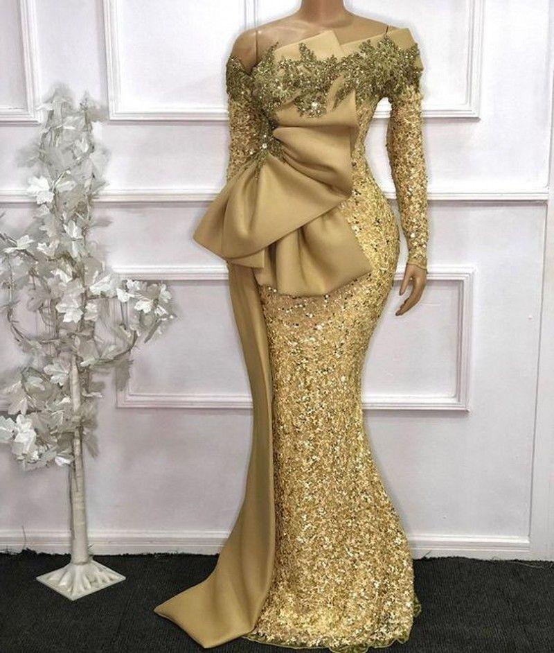 Largo elegante africana mangas de encaje sirena vestidos de noche 2021 de oro ver a través completa mangas con cuentas Prom Vestidos Robe de soirée