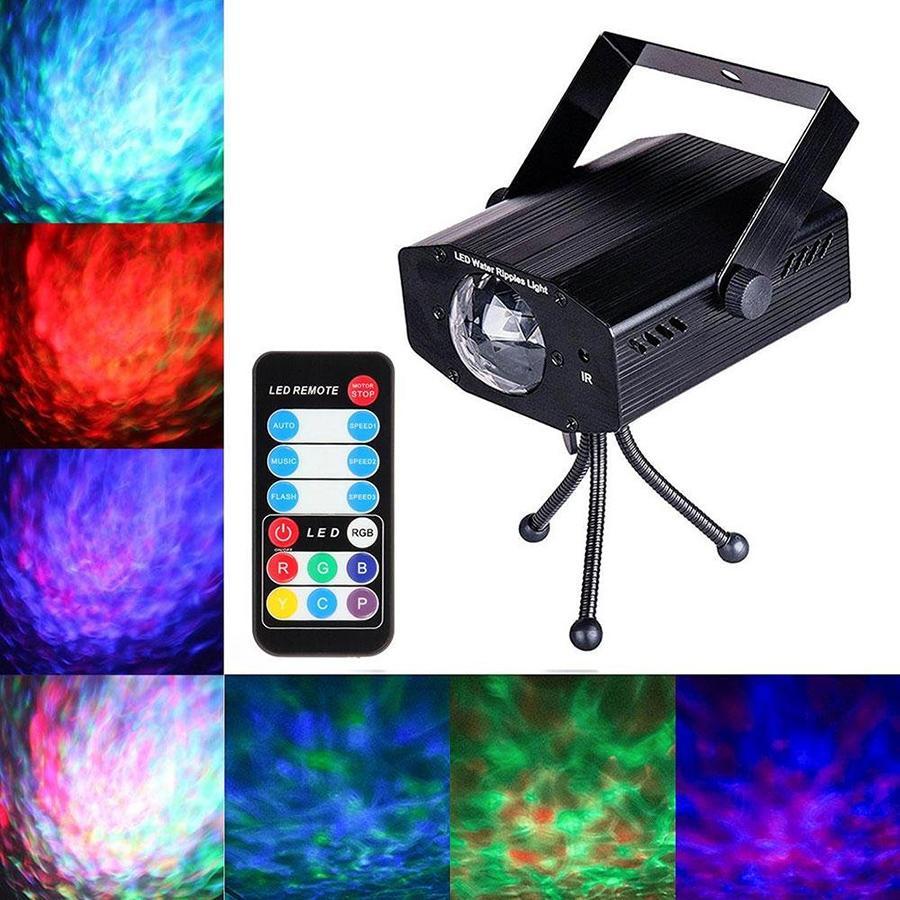 Luz aniversário lâmpada 9W LED RGB Water Wave Ripple Effect Stage Laser Projector Luz Disco de Natal DJ do partido do evento Mostrar