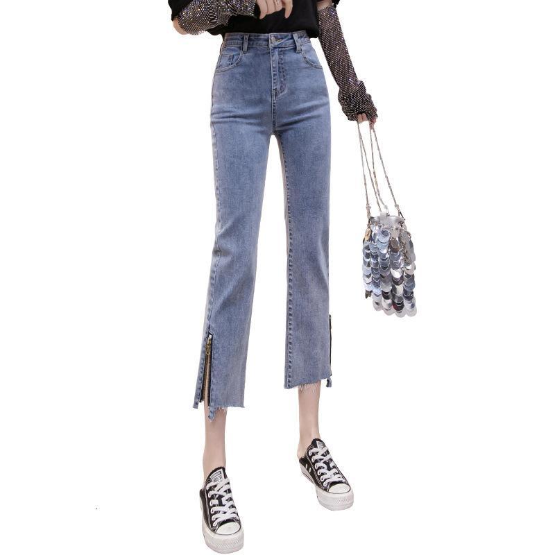 Yüksek Bel Pantolon Pamuk Ayak Bileği Uzunluğu Bahar Pantolon Ve Sonbahar Tarzı Kore Kadın Fermuar Yan Moda Reblarback Süzme Düz MJGW