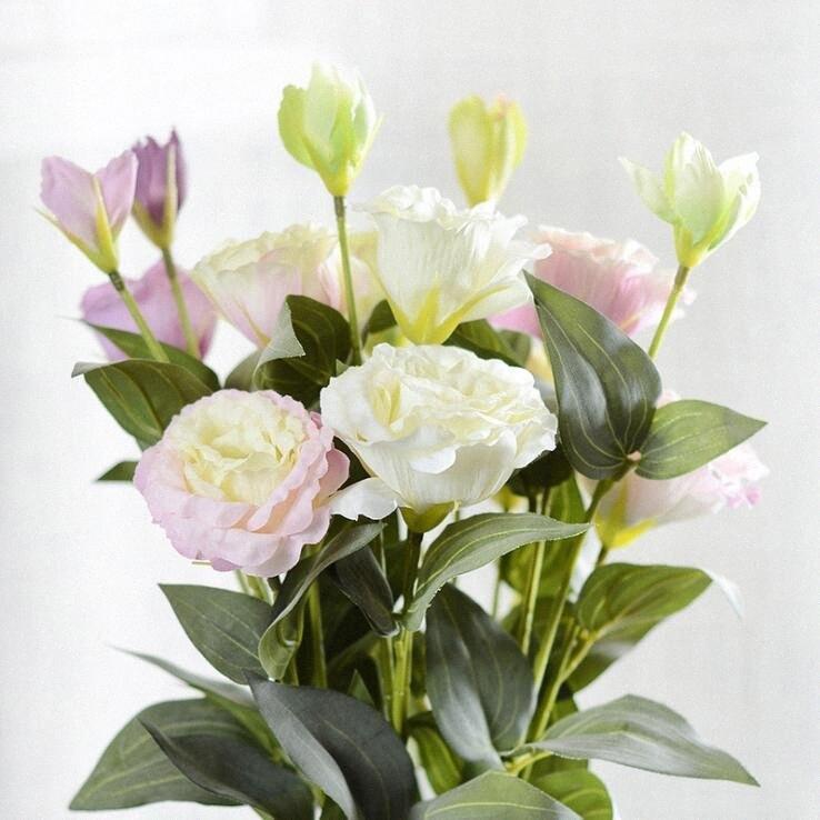 7pcs / lot Europäische Kunstblumen 3Heads Gefälschte Eustoma Gradiflorus Lisianthus für Herbst Herbst Hochzeit Hauptdekoration Kränze j7qY #