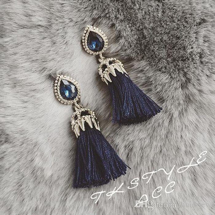여성 패션 라인 스톤 불가사리 한국어 새로운 크리스탈 드롭 귀걸이 문 보헤미안 귀걸이를위한 귀걸이
