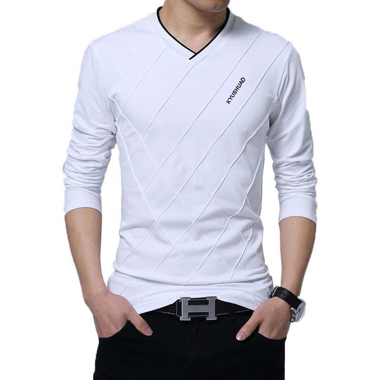 2020 Herren Casual T-Shirt Mode Slim Langarm V-Ausschnitt Fitness T-Shirts Tops Tshirt Freund Geschenk Streetwear KG-76