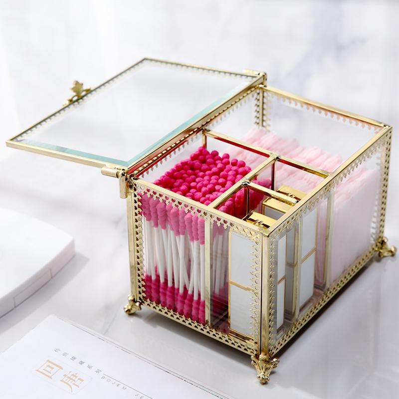 Золотое стекло прозрачные макияжные коттовые тампоны для хранения дисплея коробка качества ватный тампон для стойки стойки стойки B2244 Z1123