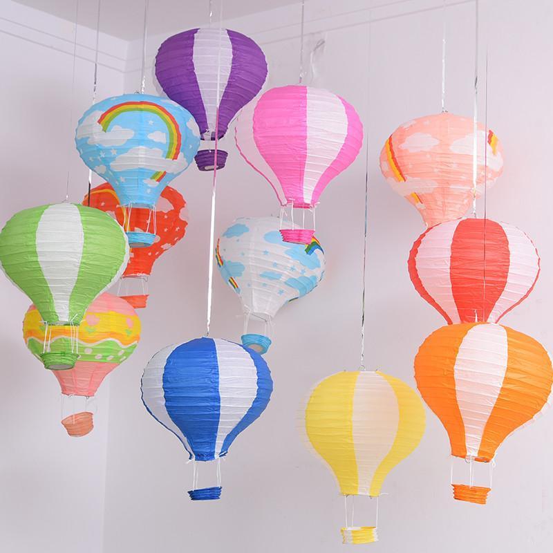 """5 pçs / lote 12 '' 16 """"(30 / 40cm) Pendurar Balão de Ar Lanterna Lanterna Arco-íris Listrafia Impressão Aniversário De Aniversário Decoração De Festa de Natal"""