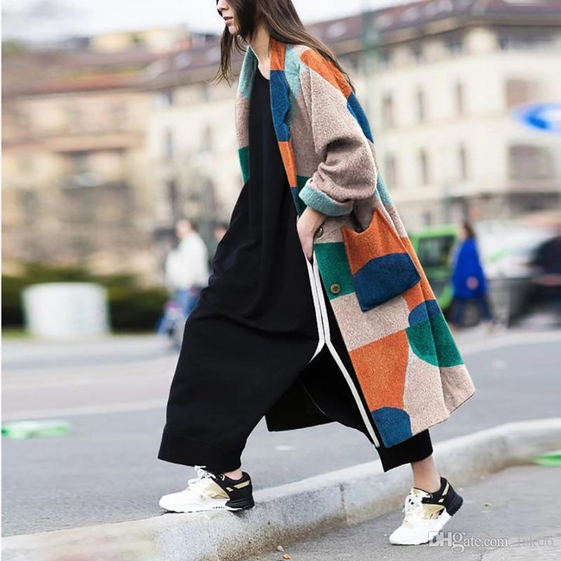 2020 femmes FashionPrint manteau tricot à manches longues Baissez bouton de col de poche Super Long manteau de laine Veste Automne Hiver Femmes