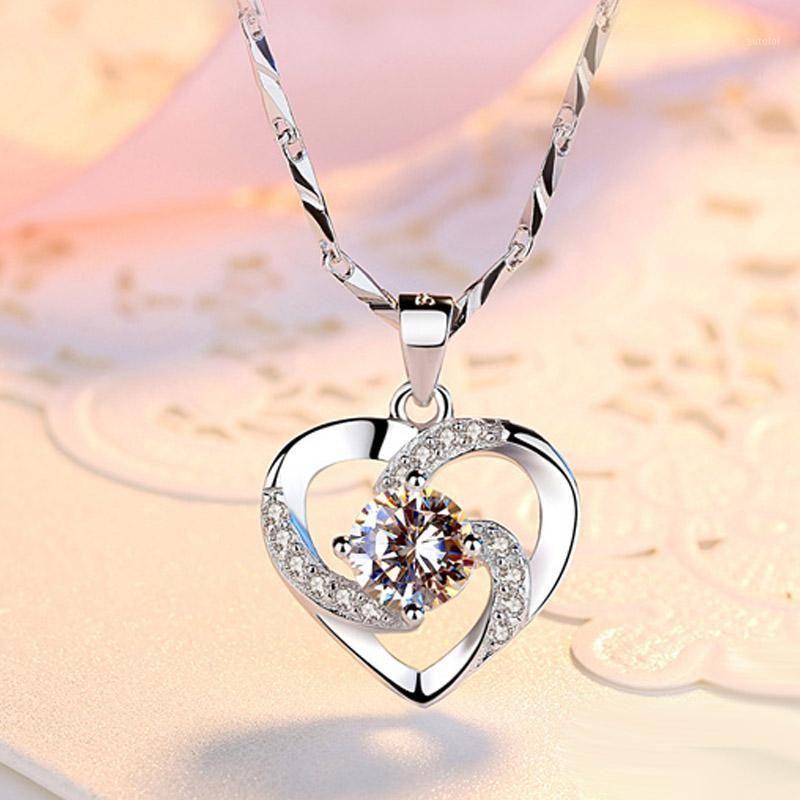Colecções em massa Conjunto de colar de pingente 925 Sterling prata cúbica zircão coração pingente colar senhora jóias acessórios1