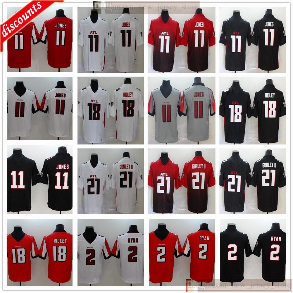 Atlantafootballjersey jerseys cosidos de la mejor calidad cosido nuevo para hombres mujeres niños juventud blanco negro rojo jersey barato al por mayor